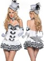 #313 * sexy Aristocratic girl Fantasie Kostüm edles Outfit in schwarz weiß bestehend aus Tube Minikleid Handschuhen Halsband und Hut !Hut weicht vom Foto formmäßig etwas ab Karneval Fasching Fassenacht Kostüm