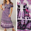 BellaDonnaModen Flippiges Sommerkleid Kleid lang Ethno Lila Grau