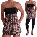 EyeCatchClothing - Damen Leopardmuster Pailletten Boob Tube Mini Kleid/ langes Top