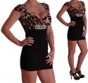 Foxy Sweetheart Leoparden Mini Rock Kleid Diamante Above Knee Mini Dress mit Diamant Details