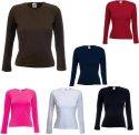 Damen Longsleeve ( Langarm ) T-Shirt von Fruit of the Loom mit Crew Neck ( schmaler Kragen ) in 6 Farben und den Grössen XS, S, M, L und XL