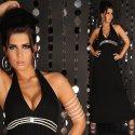 Maxikleid Kleid mit Strass Neckholder Schwarz Gr, 36,38,40