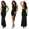 Maxikleid Empirestil Abendkleid Kleid schwarz glänzend Neckholder 36,38
