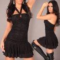 Elegantes Minikleid, Partykleid mit Spitze und Volantrock, schwarz Gr. 34-36