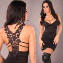 Extravagantes Minikleid, Partykleid mit Tattoo Rücken, schwarz Gr. 34-36