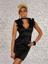 Elegantes Abendkleid, Satinkleid mit Rüschen an den Schultern, schwarz