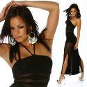 Enganliegendes hauchzartes Abendkleid mit transparenten Einsätzen, Schwarz, Einheitsgöße 34-38