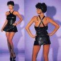 Kurzes Leder Mini-Kleid schwarz - Gr. S-L