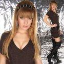 Heisses LongPulli Strick- Minikleid mit Gürtel und V-Ausschnitt (Art.No. BY02-GRAU ) in grau