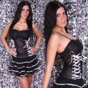 Extravagantes Minikleid im Corsagen-Stil schwarz - weiß Gr. 34-38
