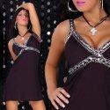 Elegantes Tunika Minikleid mit Pailletten verziert, Sommerkleid Schwarz Gr. 36-38