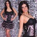 Extravagantes Minikleid im Corsagen-Stil schwarz -rosaGr. 34-38