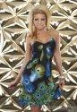 Edles Minikleid, Neckholder Kleid mit wunderschönem Pfauenfedern-Muster